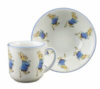 Reutter Porcelain Beatrix Potter Peter Rabbit Breakfast Set 2 pieces NEW