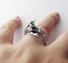 Cute Vintage Silver Adjustable Unique Fairy Unicorn Animal Wrap Ring Nickel Free