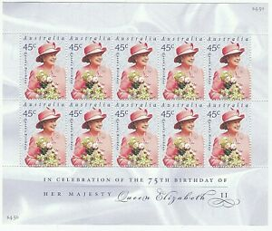 2001 AUSTRALIA STAMP MINI SHEET 'QUEEN EIIZABETH II 75TH BIRTHDAY' 10 x 45c MNH