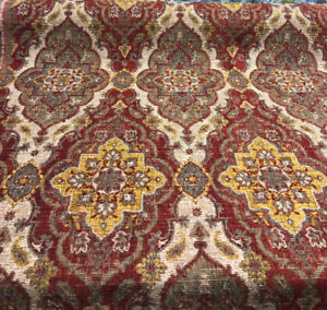 Kelham Crimson Chenille Tapestry Upholstery Fabric by the yard sofa chair