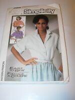 WOMENS UNCUT SIMPLICITY 7482 Sewing Pattern BUTTON FRONT BLOUSE SHIRT SIZE 8 -12