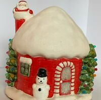 Vintage CHRISTMAS SANTA CLAUS HOUSE IGLOO LIGHT UP CERAMIC ELECTRIC Snowman