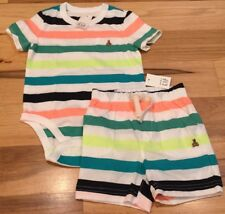 Baby Gap Boys 18-24 Months Outfit. Bright Striped Shirt & Shorts. Nwt