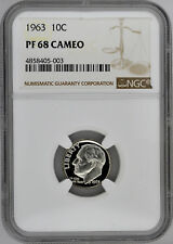 1963 10c Silver Proof Roosevelt Dime NGC PF 68 Cameo