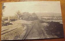 1930's Shoreline View Hilo Bay RR Tracks SC Mauna Kea TH Hawaii AZO RPPC