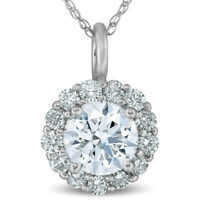 "1 Ct Halo Diamond Pendant Necklace 18"" 14k White Gold"