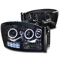 06-08 DODGE RAM 1500/09 2500/3500 PICKUP HALO LED PROJECTOR HEADLIGHT LAMP SMOKE