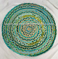 "Green Handmade Shabby Chic Round Rug Reversible Hippie Door Floor Mat Carpet 36"""