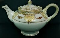 Antique Pagoda Nippon Porcelain Teapot White with Gold