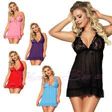 Yummy Bee Babydoll Lingerie Lace Negligee Nightwear Dress Set Plus Size 8-28 Hot