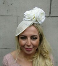 Cream Rose Flower Floral Hair Fascinator Disc Hat Sinamay Saucer Ivory Races u1c