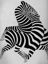 A0 zebra Canvas  vintage art print painting black white Victor vasarely large
