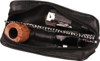 Pfeifentasche Schafleder schwarz 17.5 cm 1er Tabakfach mit Kautschukfutter NEU