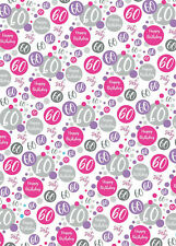 2 Sheets 60th Birthday Wrapping Paper Age 60 Gift Wrap Female Pink & White (PA)