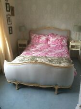 More details for refurbished french upholstered blue double bed