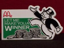 "McDonald's Monopoly ""Let Me Make...Winner"" Vintage 1980's Crew Award Pinback"