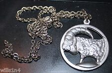 Jorgen Jensen Vintage Aeries Pewter Zodiac Denmark Pendent with Necklace