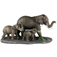 "Elephant Family Mother and Youngsters Figurine Statue 15"" Long Resin New In Box!"