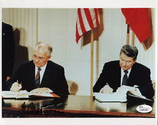 MIKHAIL GORBACHEV hand signed 8x10 color photo      WITH RONALD REAGAN   JSA COA