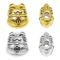 16pcs Mixed Silver/Gold 2.5mm Hole Fortune Cat Loose Spacer Beads DIY Findings