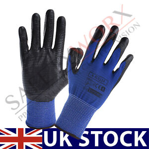 24 PAIRS NITRILE COATED SAFETY RIBBED WORK GLOVES CONSTRUCTION GARDENING GRIP