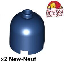Lego - 2x brique ronde brick round dome 2x2x1 2/3 30151a bleu fon/dark blue NEUF