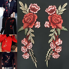 2pcs Embroidery Rose Flower Sew On Patch Badge Jeans Bag Dress Applique Craft