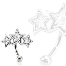 Triple Star Surgical Steel Eyebrow Ring Curve Barbell with Paved Star Shaped CZs