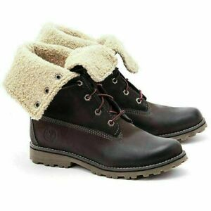 Timberland 6298R Choc Nubuck Leather Lace-Up Roll Top Shearling Boots UK 6 BNIB