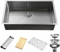 32 Inch Undermount Workstation Kitchen Sink 16 Gauge Single Bowl Stainless Steel