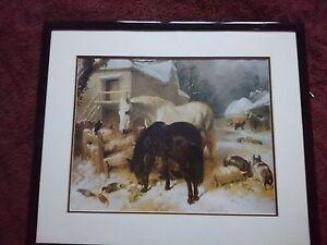 """J F Herring Framed Print of """"The Farm in Winter""""  64X54cm frame"""