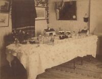 1890s Christmas Tabletop House & Farm Winter Holiday Scene Cabinet Photo