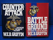 W.E.B. Griffin Corps Hardcover Books 3&4 1st Edition Counter-Attack BattleGround