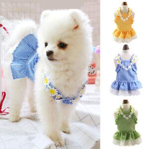 Poodle Dog Pet Kitten Clothes Flowers Blue/Green/Yellow Grid Sun Suspender Skirt