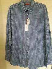 Martin Gordon Mens Button Front Long Sleeve Cotton Plaid Shirt Large L NEW