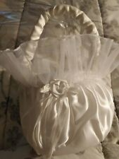Wedding white satin and lace Flower girl basket