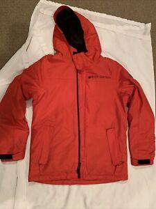 686 InfiDry Snowboard Boys Hooded Full Zip Insulated Jacket Orange Size Large