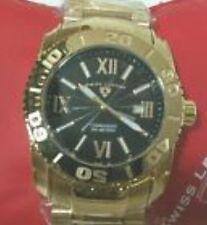 Swiss Legend Men 10059-YG-01 Commander Gold Tone Blk Textured Dial Watch -O BOX