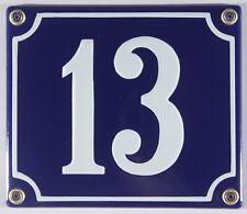 """Blaue Emaille Hausnummer """"13"""" 14x12 cm Hausnummernschild sofort lieferbar Schild"""