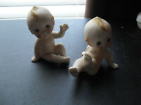 "Lot of 2 Vintage Porcelain Bisque Kewpie Figurines 3"" Tall"