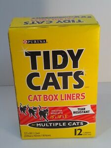 NEW Tidy Cats Cat Box Liners For Multiple Cats 12 Ct. - 22x30 - Tear Resistant
