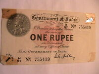 1917 India Rupee Nice EF Grade w Issues Tape Residue George V British India P-1g