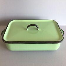 More details for vintage green enamel roasting tin casserole baking utility beryl woods retro
