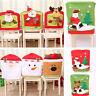 Christmas Santa Claus Chair Back Cover Snowman Elk Dinner Table Party Decor