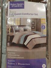3 Piece Full/ Queen Comforter Set Better Homes & Gardens Blue Block