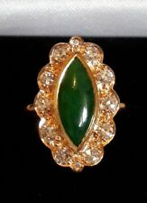 Green JADE DIAMOND 18ct  yellow GOLD CLUSTER dress RING marquise gemstone