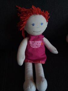 HABA Puppe Mädchen mit roten Haaren rosa Kleid lilli