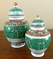 Vintage Chinese Porcelain Urn Cabbage Leaf Famille Rose Vase - Set of 2