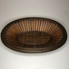 Small Vintage Oval Woven Bread Basket Wicker Home Decor