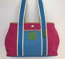 Coach IR5656 Hampton Pink & Blue Tote Handbag Size Medium